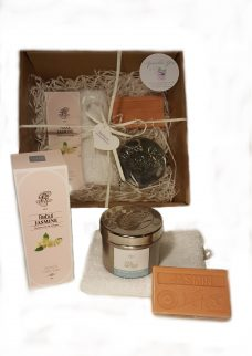 Rebul Jasmine eau de cologne, Green tree candle Jasmine, Argan zeep Jasmine, washand, cadeaupakket Jasmine