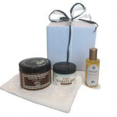 Cadeaupakket Argan hammam, Argan zwarte hammamzeep, Savon Noir Eucalyptus, Beurre Karite boter bio, biologische arganolie, washand